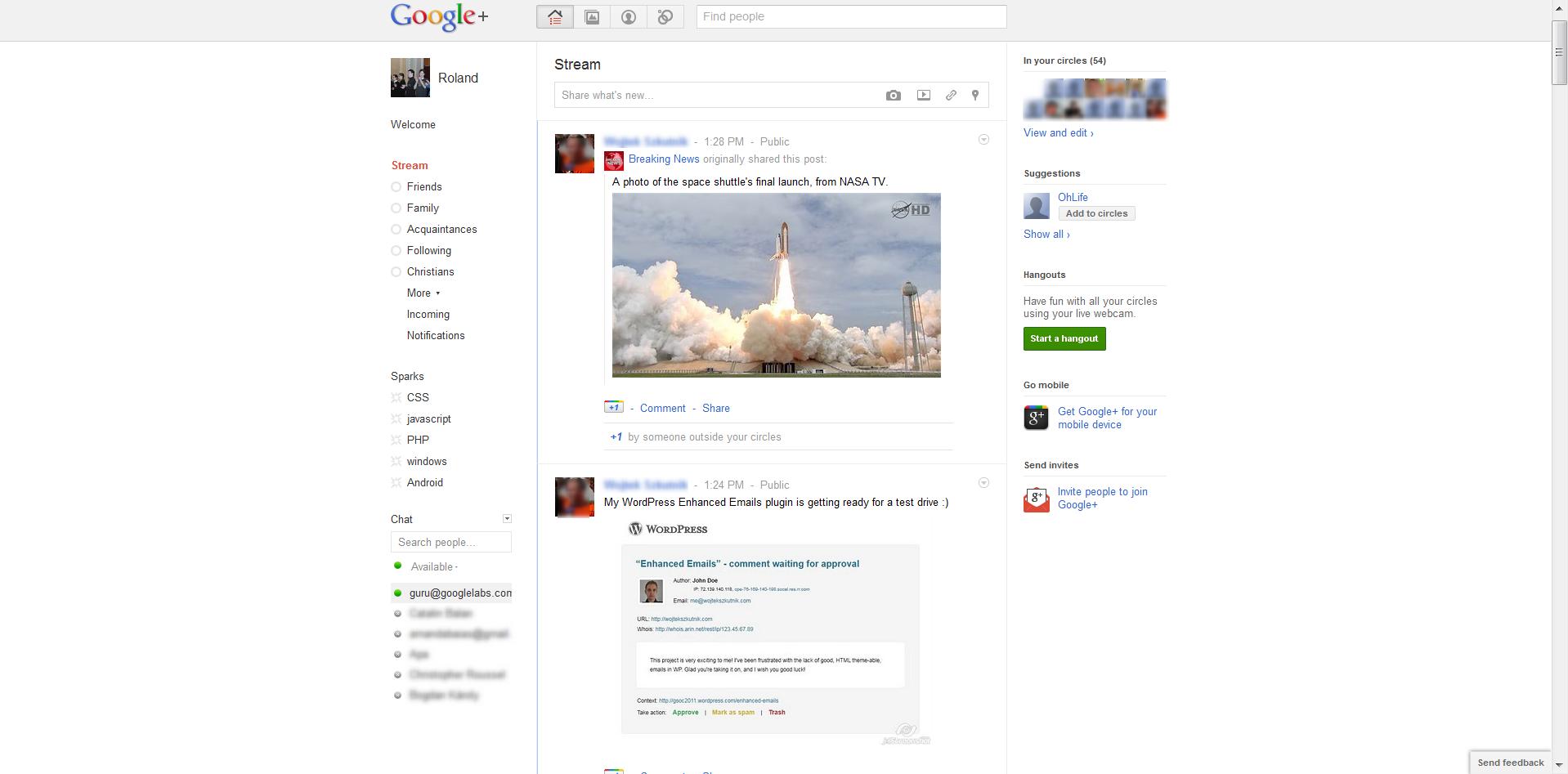 Google+ Main Page