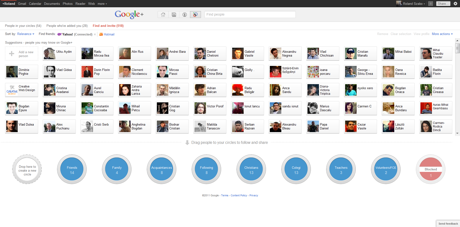 Google+ Recommendation page