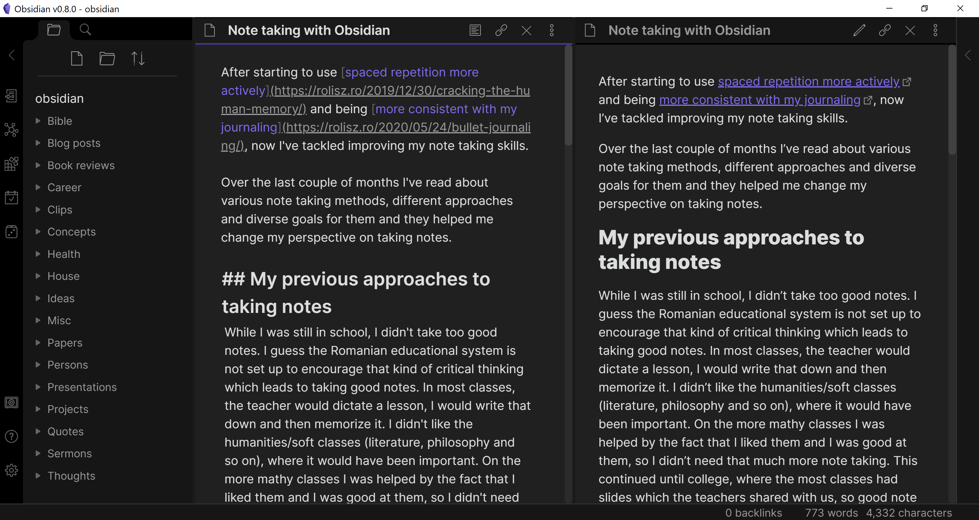 Note taking with Obsidian